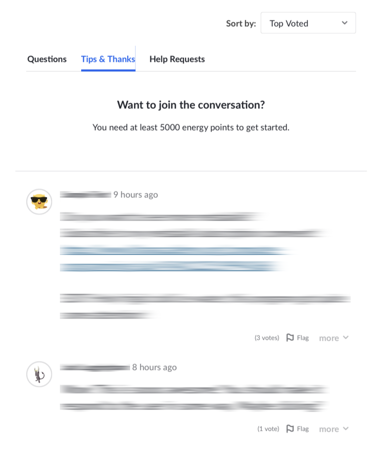 "No reply buttons, and the text ""Want to join the conversation? You need at least 5000 energy points to get started."""